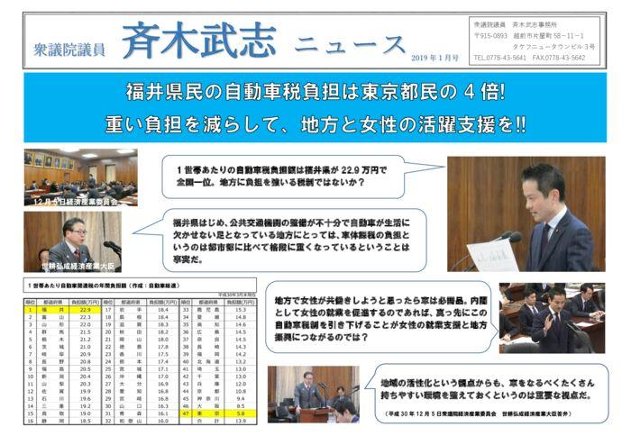斉木武志ニュース 2019.1月発行